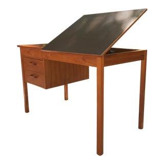 1970's Danish Modern Teak Drafting Desk Adjustable