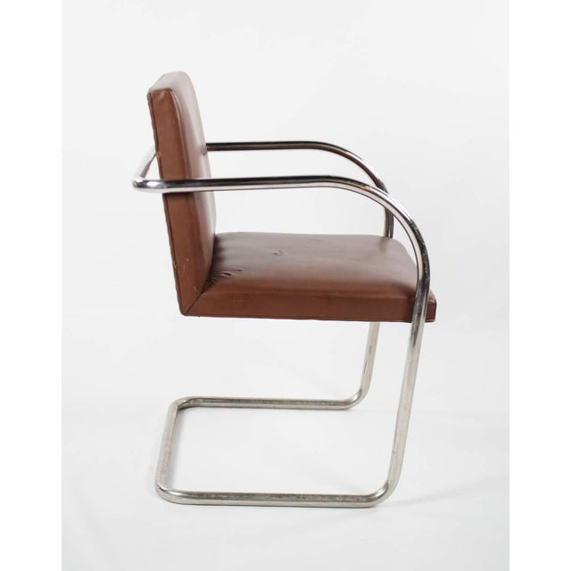 Bauhaus 1960s Mid-Century Modern Brno Knoll International Tubular Chrome and Naugahyde Arm Chair For Sale - Image 3 of 13