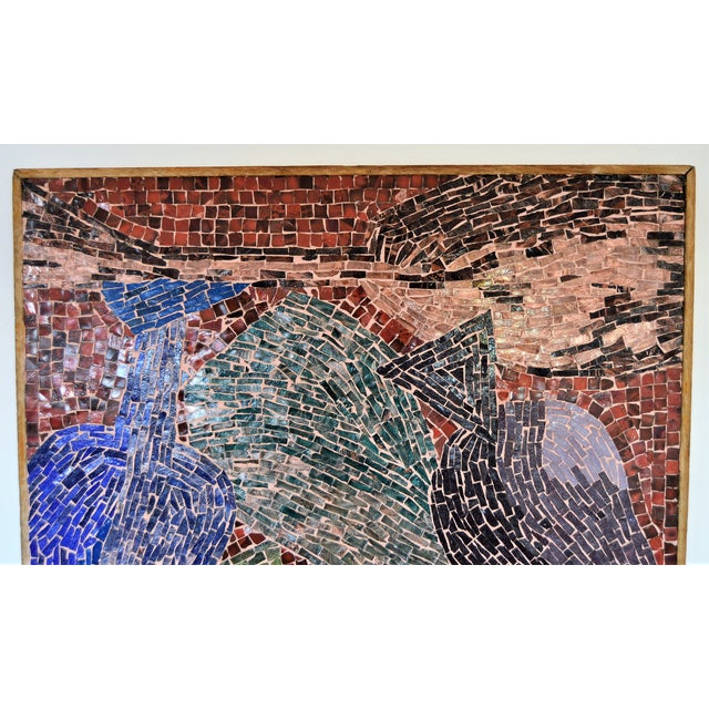 Cubist Glass Mosaic Wall Sculpture -- Mid Century Modern MCM Boho Chic Cottage Abstract Expressionism Folk Art - Image 3 of 11