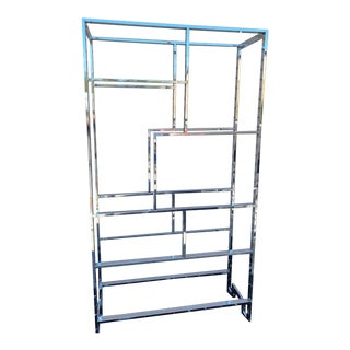 Vintage Milo Baughman Chrome and Glass Etagere For Sale