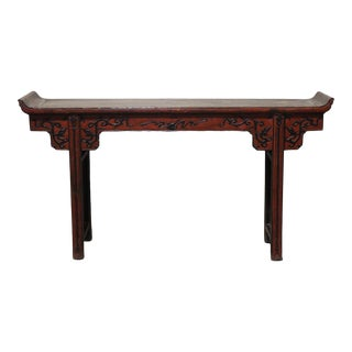 Chinese Red Lacquered Altar Table For Sale
