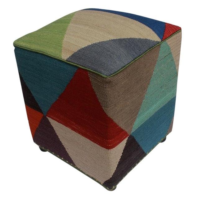 Arshs Deanne Ivory/Red Kilim Upholstered Handmade Ottoman For Sale