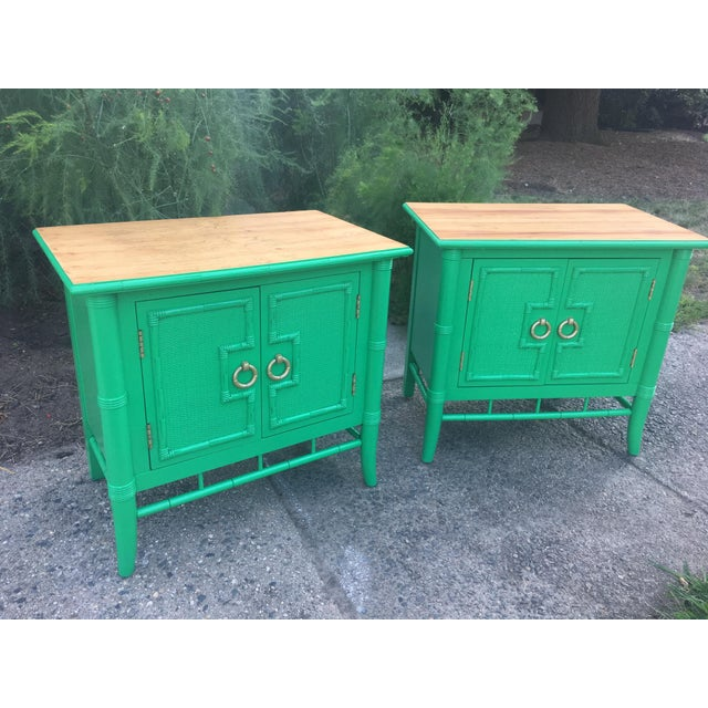 Vintage Thomasville Faux Bamboo Green Nightstands - A Pair - Image 10 of 10