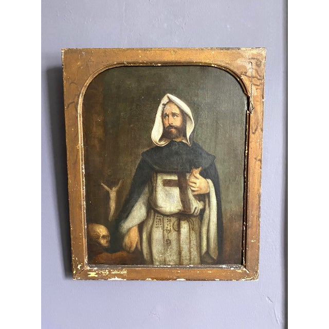 Antique 19th C. Portrait of Saint Dominic Oil on Canvas Painting For Sale - Image 11 of 11
