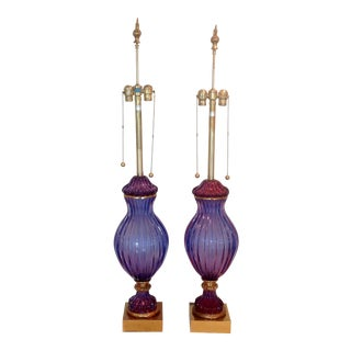 Marbro Seguso Murano Purple Sommerso Lamps - a Pair For Sale