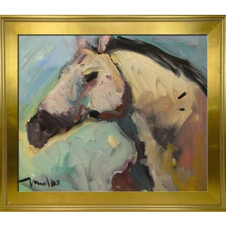 Jose Trujillo Large Framed Impressionism Modernist Portrait Horse Ranch Painting For Sale