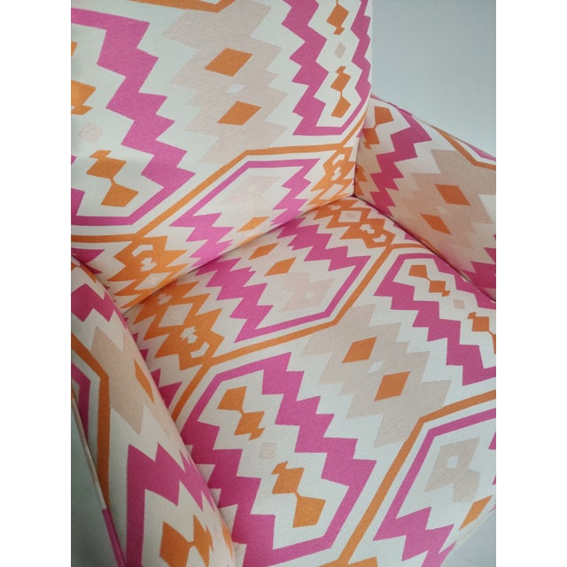 Boho Chic 1920s Bright Geometric Arm Chairs - a Pair For Sale - Image 3 of 11