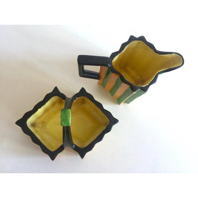 Rare Vintage 1930's Art Deco Japan Art Pottery Hand Painted Modernist Ceramic Cream & Sugar Serving Set For Sale - Image 11 of 13