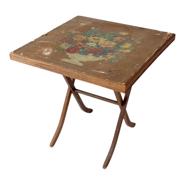 Vintage Floral Folding Table For Sale