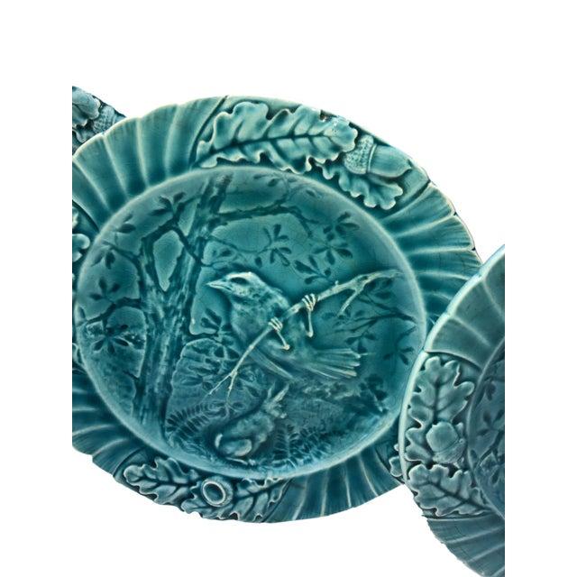 Set of six 19th century green Sarreguemines plates with birds. Circa 1910, France.