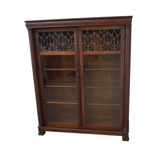 Antique Oak Arts & Crafts Leaded Glass Bookcase - Image 1 of 10