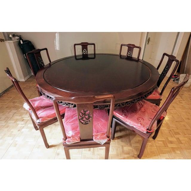 Large Asian Dining Set, Round - Image 3 of 10