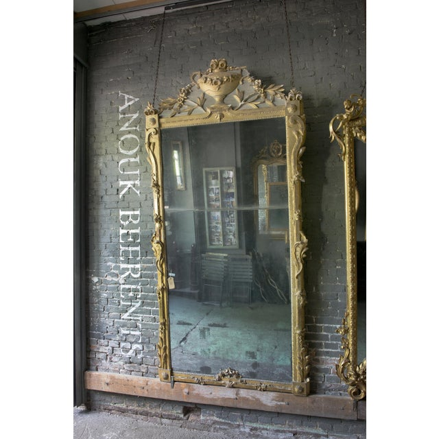 18th Century Mirror in a rather exceptional size ( with its height of 101 inches! Louis XVI , ca 1780 , provincial, carved...