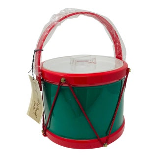Vintage Christmas Decorations Georges Briard Drum Ice Bucket For Sale