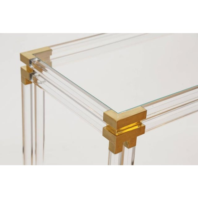 Charles Hollis Jones Style Lucite and Brass Console - Image 5 of 7
