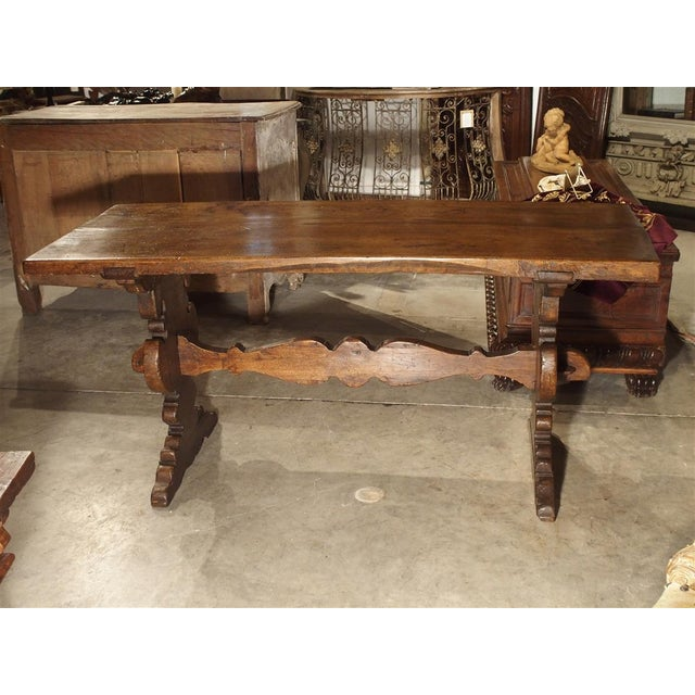 Brown 17th Century Italian Walnut Wood Table For Sale - Image 8 of 13