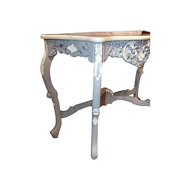 Carved Rocco-Style Marble-Top Console - Image 3 of 5