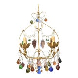 Image of Vintage Italian Chandelier With Hanging Crystal Fruits For Sale
