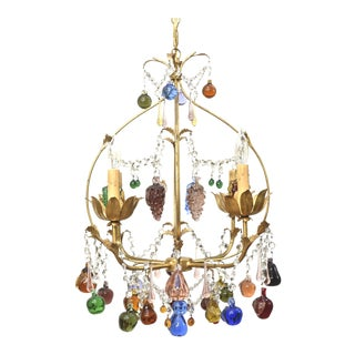 Vintage Italian Chandelier With Hanging Crystal Fruits