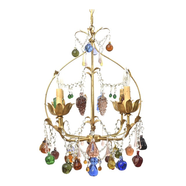 Vintage Italian Chandelier With Hanging Crystal Fruits For Sale