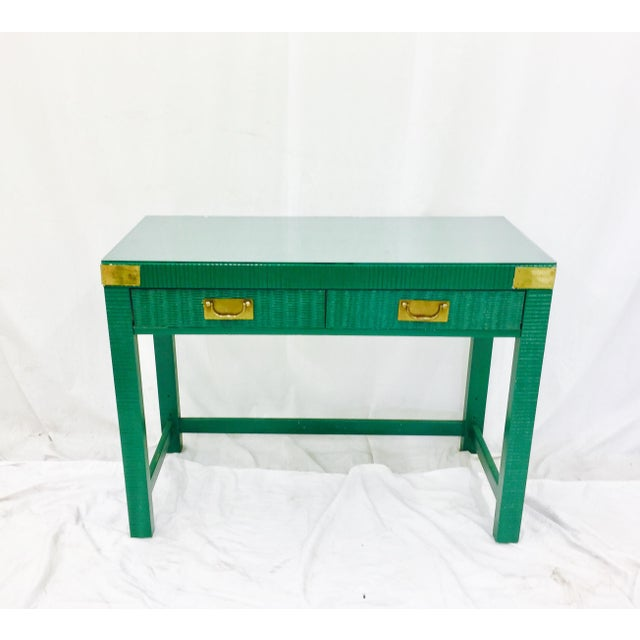 Vintage Mid-Century Campaign Green Desk - Image 5 of 11