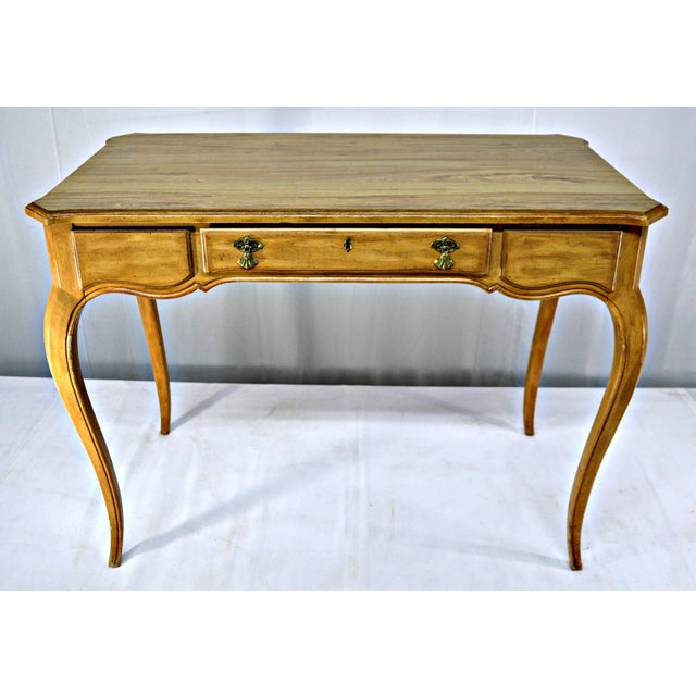 French Provencal-style writing desk with pencils drawer. Nice natural cloudy wood veins. Decorative lock and handles in...