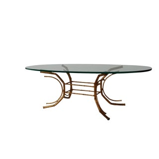 20th Century Hollywood Regency Oval Glass Brass Bamboo Coffee Table For Sale