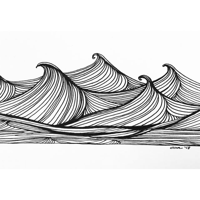 "Contemporary Christy Almond ""The Waves of the Sea"" Contemporary Pen & Ink Drawing For Sale - Image 3 of 8"
