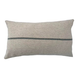 Italian FirmaMenta Eco-Friendly Sage Green and Brown Stripes Cream Wool Lumbar Pillow For Sale