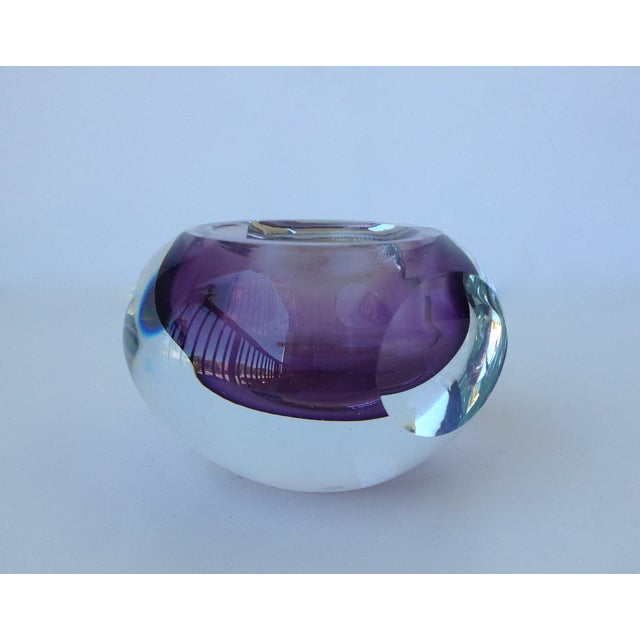 Italian Murano Sommerso Purple & Clear Bowl For Sale - Image 5 of 11