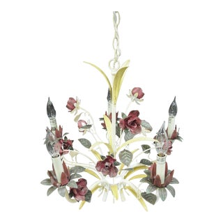 Tole Metal Floral Chandelier French Cottage Chic Yellow White Red Paint Rose