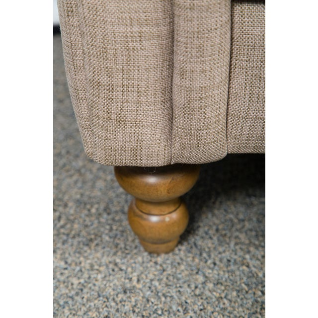 Contemporary Custom Upholstered Bench With Tufted Rolled Arms For Sale - Image 3 of 7