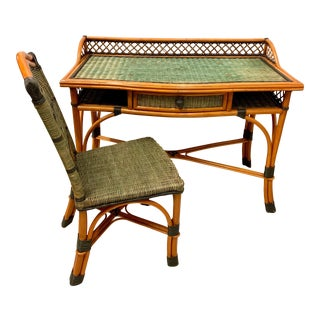 French Wicker and Rattan Desk & Chair by Grange For Sale