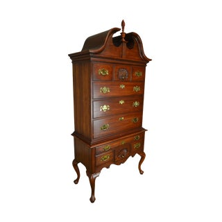 1970s Vintage Henkel Harris Solid Cherry 3-Part Philadelphia Queen Anne Highboy For Sale