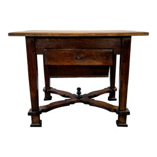 Antique ( 1680-1749 ) Flemish Renaissance Oak Possum Belly Drawer Kitchen Work Table For Sale