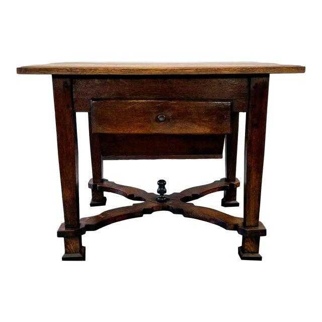 Antique ( 1680-1749 ) Flemish Renaissance Oak Possum Belly Drawer Kitchen Work Table For Sale
