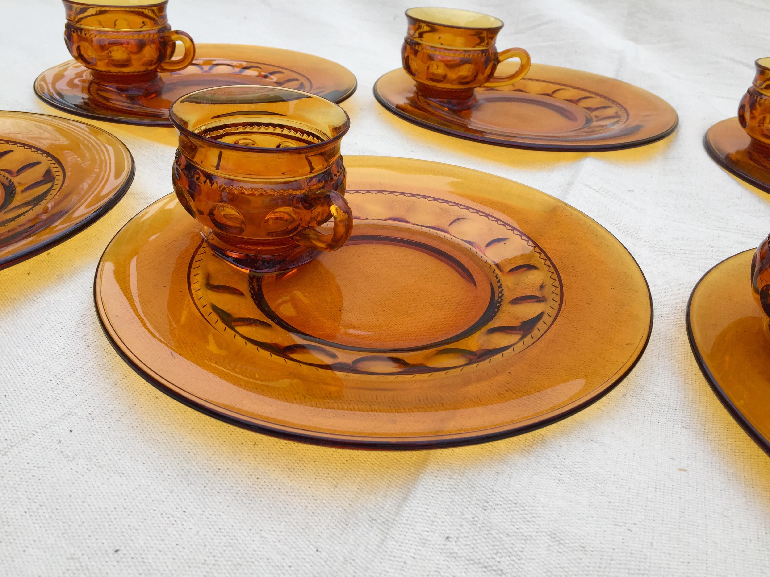 Mid-Century Modern Kings Crown Amber Indiana Luncheon Snack Plates and Cups Sets - 16  sc 1 st  Chairish & Mid-Century Modern Kings Crown Amber Indiana Luncheon Snack Plates ...