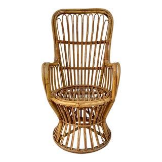 Mid-Century Boho Albini Style Bamboo Rattan Chair For Sale