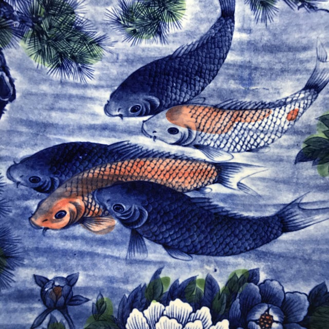 1970s Vintage Hand Painted Asian Koi Fish Platter or Shallow Centerpiece Bowl For Sale - Image 5 of 7
