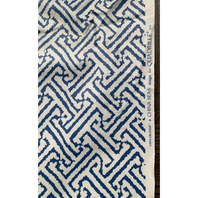 Textile 1.9 Yards Quadrille Java Grande Blue Laminated Fabric For Sale - Image 7 of 8