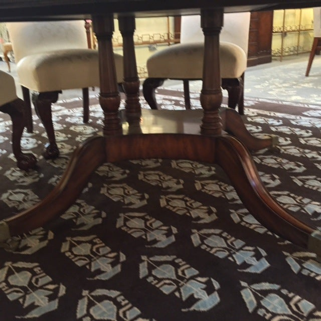 Maitland Smith Round Mahogany Table with Leaves - Image 6 of 9