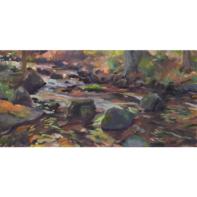 Impressionist The Stream Painting on Canvas For Sale - Image 9 of 9