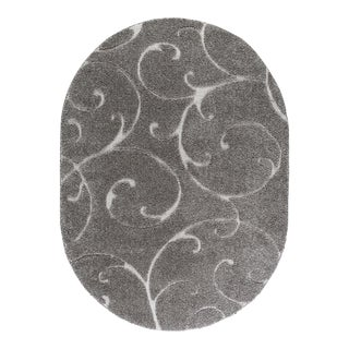"Berkshire Shag Scrollwork Gray Oval Transitional Area Rug - 3'11"" x 5'3"""