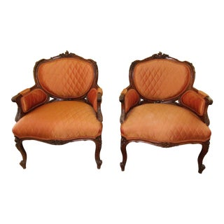 1940s Antique French Carved Bergere Accent Chairs- A Pair For Sale