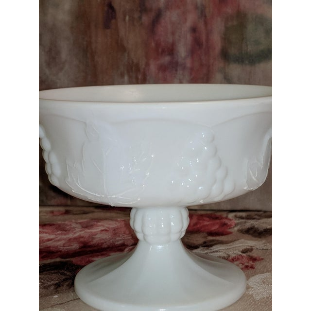 Art Nouveau Vintage Milk Glass Serving Plate/Pedestal Dessert Dish With Grapevine Pattern For Sale - Image 3 of 13