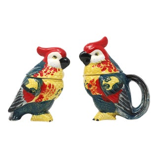 Vintage Hand-Painted Parrots Salt/Pepper and Cream/Sugar Set - Set of 2 For Sale