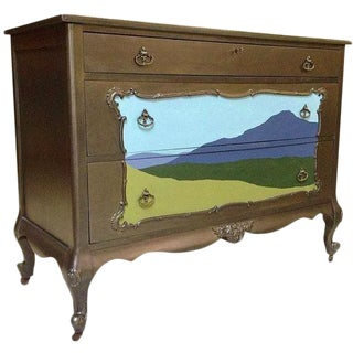 Silver Metallic Dresser with Painted Landscape