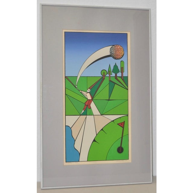 """Vintage Cubist Golf """"A Birdie"""" Silkscreen by Herman c.1977 Fine color silkscreen from a limited edition of only 18. The..."""