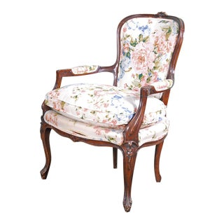 Louis XV Style Floral Patterned Mahogany Armchair For Sale