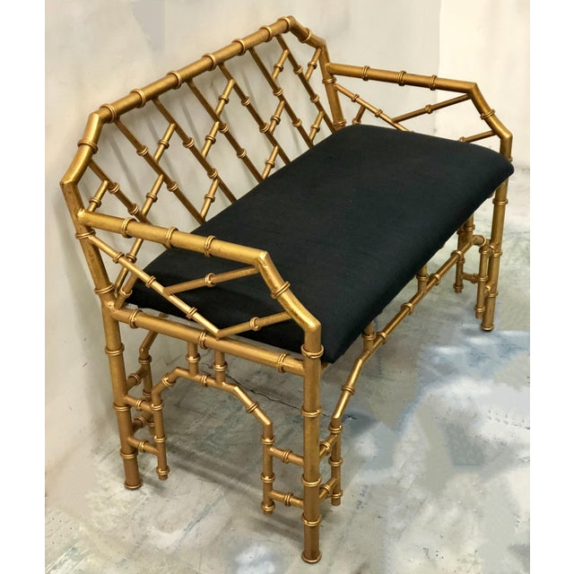 Gilt Metal Hollywood Regency Style Bench - Image 2 of 4